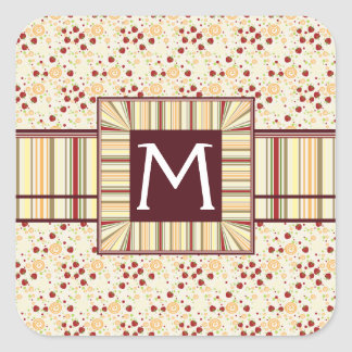 Summer Scattered Strawberry Swirl Pattern Initial Square Sticker