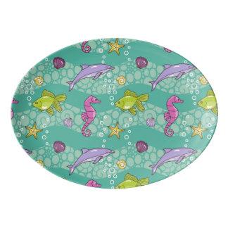 Summer Sea Pattern Porcelain Serving Platter