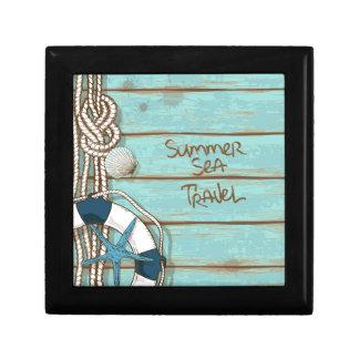 Summer, Sea, Travel Nautical Design Small Square Gift Box
