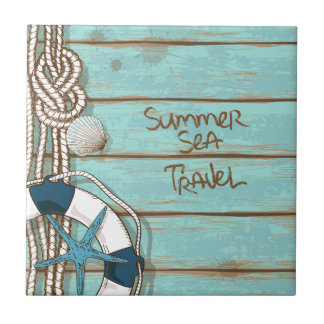 Summer, Sea, Travel Nautical Design Small Square Tile
