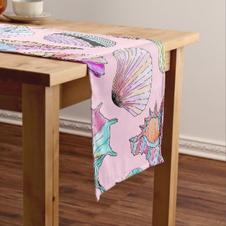 Summer Seashells in Girly Painted Watercolor Paint Short Table Runner