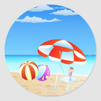 Summer Seaside Classic Round Sticker