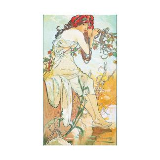 Summer Season Alphonse Mucha Fine Art Stretched Canvas Print
