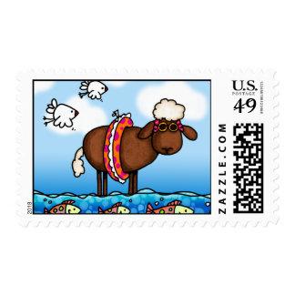summer sheep postage stamp