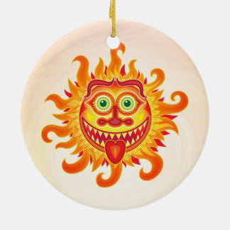 Summer shiny sun grinning and sticking tongue out christmas ornament