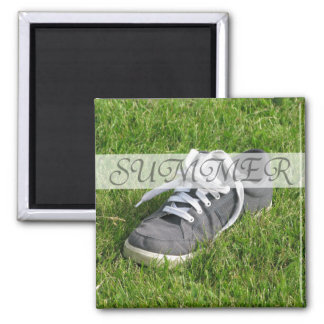 Summer Shoe in Grass on Square Magnet