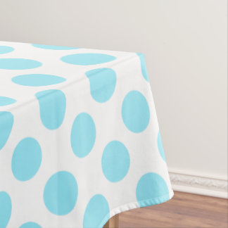 Summer Sky Blue Polka Dots on White Tablecloth