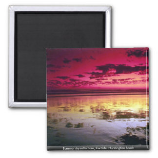 Summer sky reflections, low tide, Huntington Beach Square Magnet