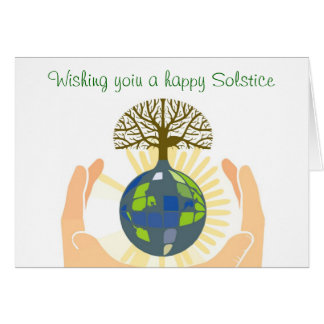 Summer Solstice Blessings with hands holding earth Card