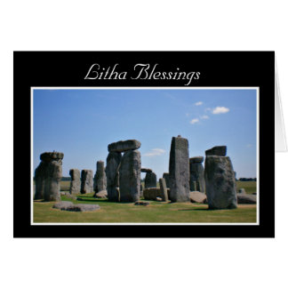 Summer Solstice Blessings with stonehenge Litha Card