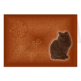 Summer Solstice Pagan Pentagram Black Cat Greeting Card