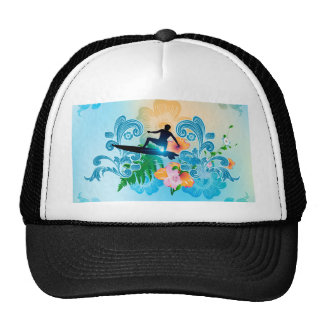 Summer sports, surf boarder with wave trucker hats