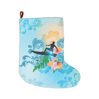 Summer sports, surf boarder with wave large christmas stocking