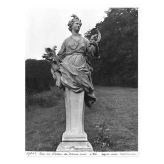 Summer, statue in the gardens postcard