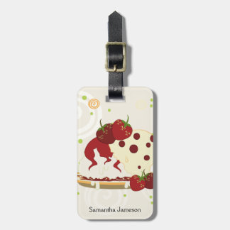 Summer Strawberries And Ice Cream Art With Pattern Luggage Tag