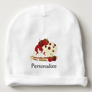Summer Strawberry Ice Cream Art - Personalize It Baby Beanie