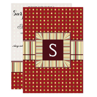 Summer Strawberry Seeds Pattern With Initial Card