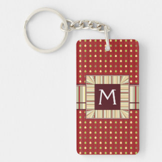 Summer Strawberry Seeds Pattern With Initial Double-Sided Rectangular Acrylic Key Ring