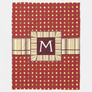 Summer Strawberry Seeds Pattern With Initial Fleece Blanket