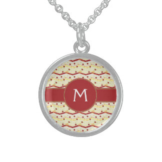 Summer Strawberry Swirl Chevron Pattern - Initial Sterling Silver Necklace