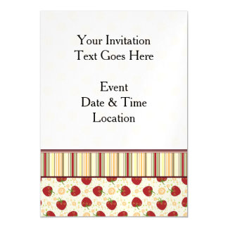 Summer Strawberry Swirl Pattern With Border Magnetic Card