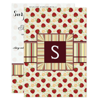 Summer Strawberry Swirl Pattern With Initial Card