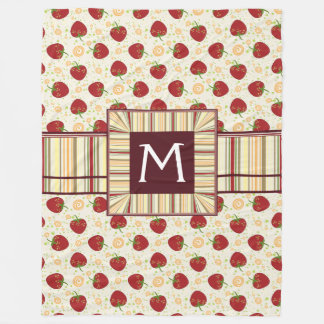 Summer Strawberry Swirl Pattern With Initial Fleece Blanket