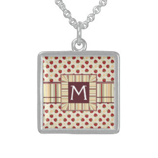 Summer Strawberry Swirl Pattern With Initial Sterling Silver Necklace