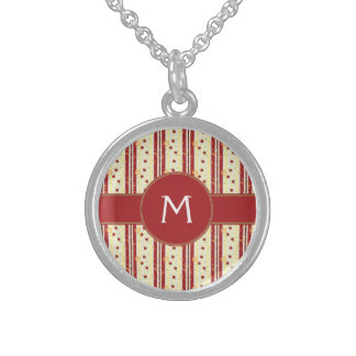 Summer Strawberry Swirl Stripes Pattern - Initial Sterling Silver Necklace
