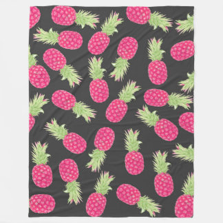 Summer Strawberry Tropical Pineapples Fleece Blanket