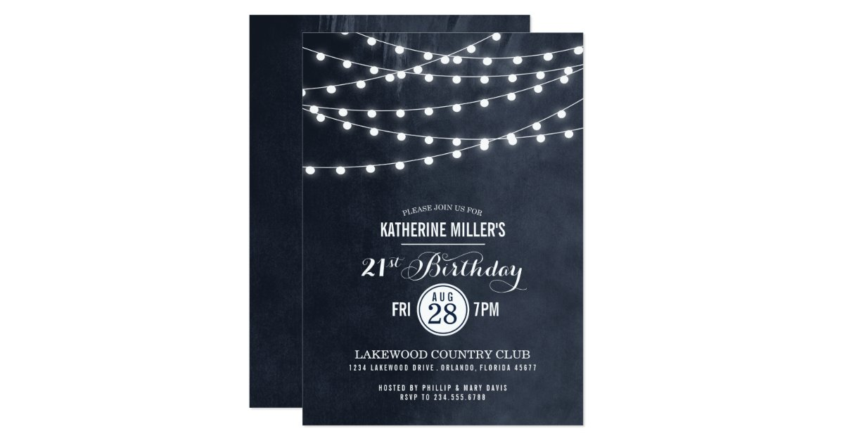 Summer String Lights Engagement Party Invitation : Summer String Lights Birthday Party Invitation Zazzle