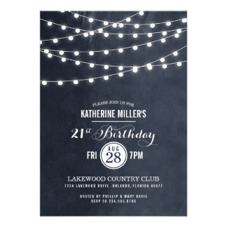 Summer String Lights Birthday Party Invitation