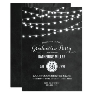 Summer String Lights Graduation Party Card