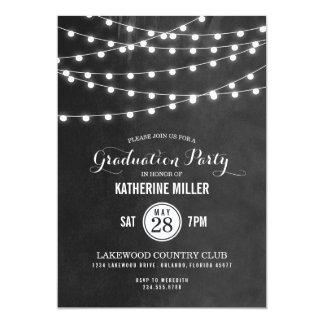 Summer String Lights Graduation Party Card