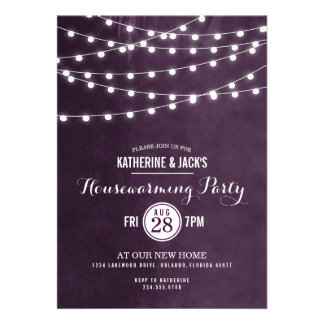 Summer String Lights Housewarming Party Invitation