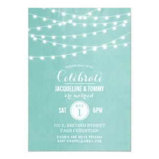 Summer String Lights Wedding Celebration 13 Cm X 18 Cm Invitation Card