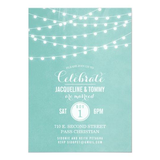Summer String Lights Wedding Celebration Card