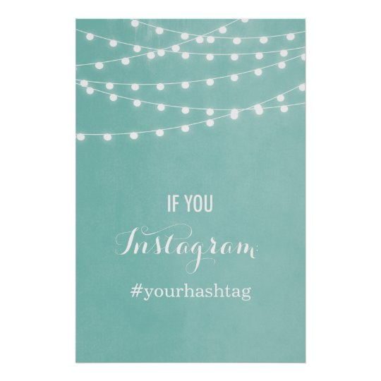 Summer String Lights Wedding Hashtag Poster
