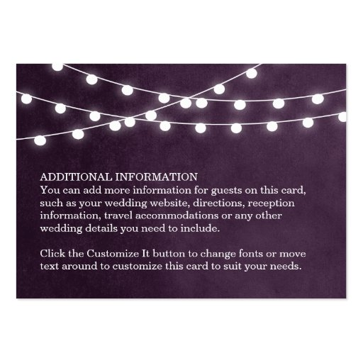 Premium rustic country business card templates summer string lights wedding insert card business cards reheart Choice Image