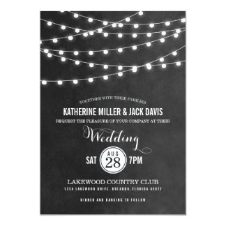 Summer String Lights Wedding Invitation