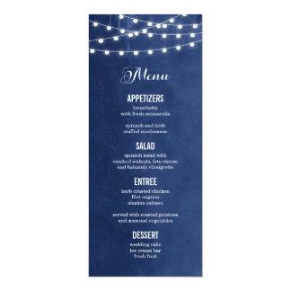 Summer String Lights Wedding Menu Card 10 Cm X 24 Cm Invitation Card