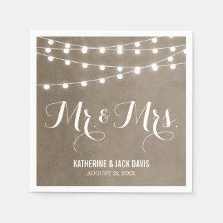 Summer String Lights Wedding Monogram Disposable Serviette