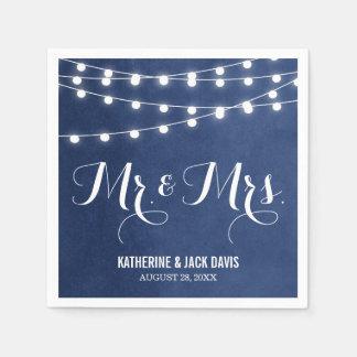 Summer String Lights Wedding Monogram Disposable Serviettes