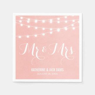 Summer String Lights Wedding Monogram Paper Serviettes