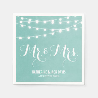 Summer String Lights Wedding Monogram Paper Serviettes