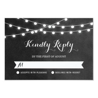 Summer String Lights Wedding RSVP Card Invite