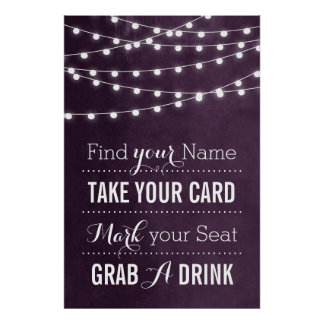 Summer String Lights Wedding Sign Poster