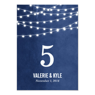 Summer String Lights Wedding Table Numbers 13 Cm X 18 Cm Invitation Card