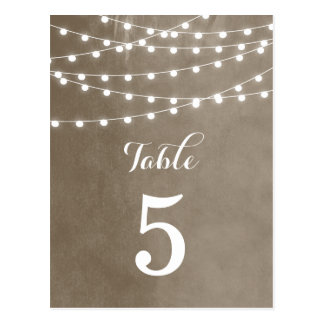Summer String Lights Wedding Table Numbers Postcard