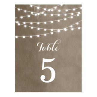 Summer String Lights Wedding Table Numbers Postcard